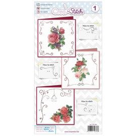 BASTELSETS / CRAFT KITS Belles cartes de broderie avec des roses
