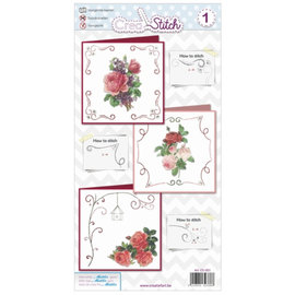 BASTELSETS / CRAFT KITS Vakre broderikort med roser