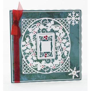 Tonic Studio´s stempelen en embossing stencil: Kerstmis decoratief kader