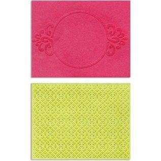 embossing Präge Folder Goffratura cartelle: Circle Frame & Spark Lina Set