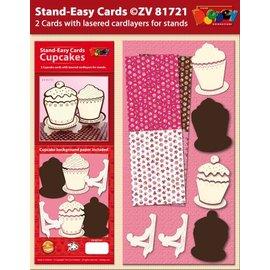 KARTEN und Zubehör / Cards Sett 2 Stand-enkel Cupcake kort
