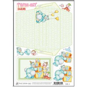 KARTEN und Zubehör / Cards Marij Rahder twin sæt kort 01 Baby
