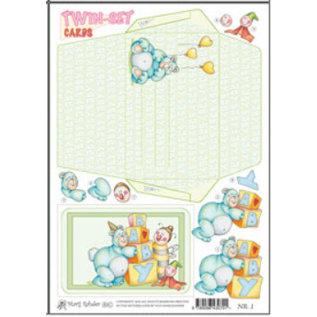 KARTEN und Zubehör / Cards Marij Rahder twin set kaarten 01 baby's