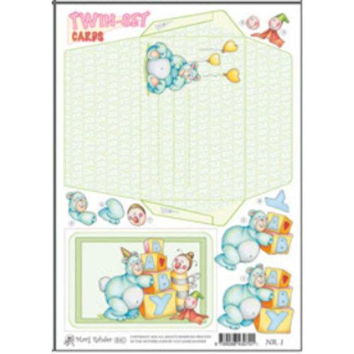 KARTEN und Zubehör / Cards Marij Rahder TWIN cartes 01 bébé