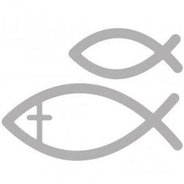 Spellbinders und Rayher Troquelado y estampado en relieve plantilla: la comunión de pescado