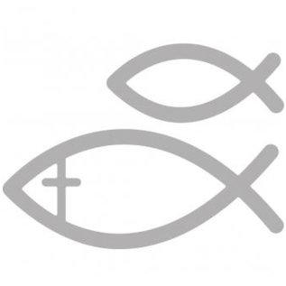 Spellbinders und Rayher Ponsen en embossing sjabloon: vissen communie
