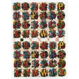 Bilder, 3D Bilder und ausgestanzte Teile usw... A5, utklipp med glitter: ABC Flowers