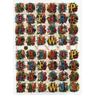 Bilder, 3D Bilder und ausgestanzte Teile usw... A5, scraps with glitter: ABC Flowers