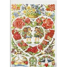Bilder, 3D Bilder und ausgestanzte Teile usw... A5, utklipp: Blomster Hjerte
