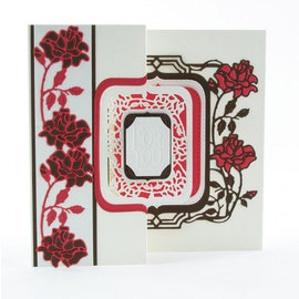 Tonic Studio´s stamping and embossing folder: Flip Flop, Easel & frame with roses