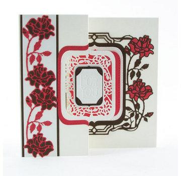 Tonic Studio´s stampaggio e goffratura cartella: Flip Flop, Cavalletto & Pagina con le rose