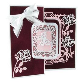 Tonic Studio´s stempelen en embossing folder: Flip Flop, schildersezel & frame met rozen