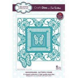 CREATIVE EXPRESSIONS und COUTURE CREATIONS Troquelado y estampado en relieve plantilla: mariposa marco decorativo