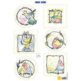Marianne Design Bilderbogen, schattige kleine vogels
