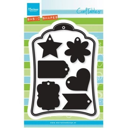 Marianne Design Punching and embossing template: 6 decorative labels + 1 XL Label