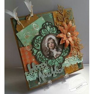 Marianne Design Ponsen en embossing sjabloon: 6 decoratieve etiketten 1 XL Label