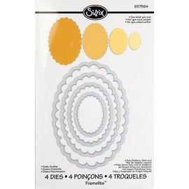 Sizzix Stempelen en embossing folder SET: 4 ovalen met golven