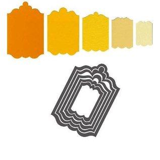 Sizzix Stansing og preging mappe SET: 5 dekorative ramme / Etiketter