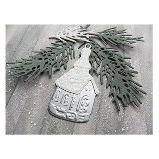 Marianne Design Ponsen en embossing sjabloon: Tiny's boomtak van de pijnboom
