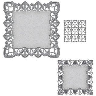 Spellbinders und Rayher Ponsen en embossing sjabloon: decoratief frame rechthoek