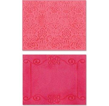 embossing Präge Folder Goffratura cartelle: Scroll Frame / Succulente Set