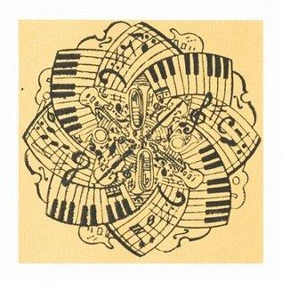 BASTELZUBEHÖR, WERKZEUG UND AUFBEWAHRUNG Textuur mat muziek, 90 x 90 mm, 1 stuk
