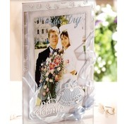 Die'sire Stempelen en embossing stencil van Diesire, bruiloft bel + hart hoeken