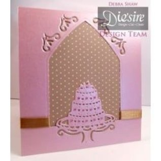 Die'sire Stamping and embossing stencil of Diesire, cake, heart and corners