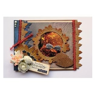 Joy!Crafts / Jeanine´s Art, Hobby Solutions Dies /  Stempelen en embossing stencil: grens met bladeren