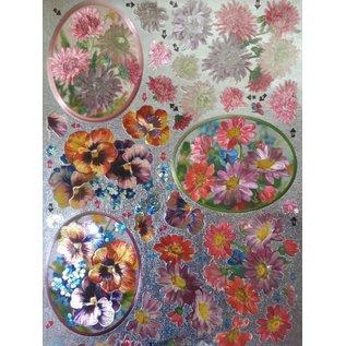 Bilder, 3D Bilder und ausgestanzte Teile usw... 3D Die cut sheets Metallic LOOK: Chryanthemen and violets