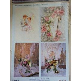Bilder, 3D Bilder und ausgestanzte Teile usw... 3D Stanzbogen + 1 Hintergrundbogen : Hochzeit