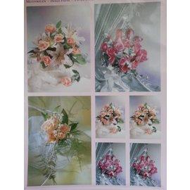 Bilder, 3D Bilder und ausgestanzte Teile usw... 3D Die vellen + 1 achtergrond bladen: bruidsboeketten