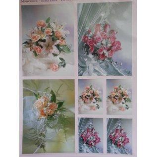 Bilder, 3D Bilder und ausgestanzte Teile usw... 3D Stanzbogen + 1 Hintergrundbogen: Brautsträuße