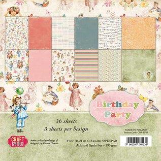 """Karten und Scrapbooking Papier, Papier blöcke Designerblock, 30,5 x 30,5cm, """"Birthday Party"""""""