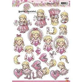 Yvonne Creations A4 feuilles coupées: Fille avec le coeur