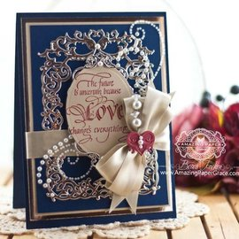 Spellbinders und Rayher Punching and embossing template: Floral frame with heart