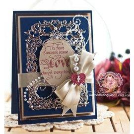 Spellbinders und Rayher Stanz- und Prägeschablone: Blumen Rahmen mit Herz