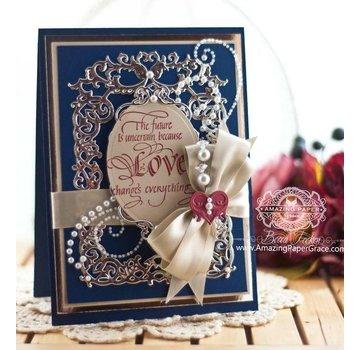 Spellbinders und Rayher Stansning og prægning skabelon: Floral ramme med hjerte
