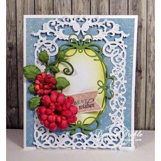 Spellbinders und Rayher Ponsen en embossing sjabloon: Bloemen frame met hart