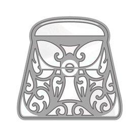 Tonic Studio´s Ponsen en embossing sjabloon: Rococo stijlvolle handtas