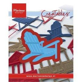 Marianne Design Ponsen en embossing sjabloon: ligstoel / strand stoel