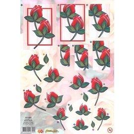 Bilder, 3D Bilder und ausgestanzte Teile usw... hojas sueltas A4: rosas rojas