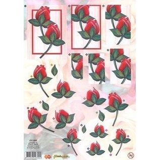 Bilder, 3D Bilder und ausgestanzte Teile usw... A4 Stanzbogen: rote Rosen