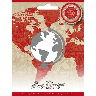 AMY DESIGN AMY DESIGN, stempling og prægning stencil,, kort, globe