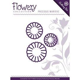 Precious Marieke Troquelado y estampado en relieve plantilla: 3 flores de la margarita