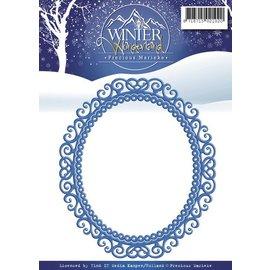 Precious Marieke Troquelado y estampado en relieve plantilla: hermoso marco ornamental, oval