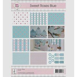 """Karten und Scrapbooking Papier, Papier blöcke A4, paper and labels, """"Sweet Roses Blue"""""""