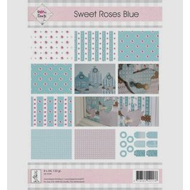 "Karten und Scrapbooking Papier, Papier blöcke A4, Papier und Labels, ""Sweet Roses Blue"""