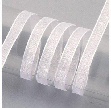 Embellishments / Verzierungen Organza nastro cimosa, 6 mm, bianco