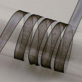 Embellishments / Verzierungen Organza lint zelfkant, 6 mm, zwart